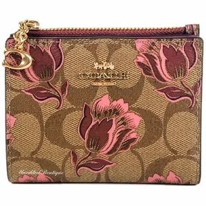 COACH Snap Wallet In Floral Printed Signature
